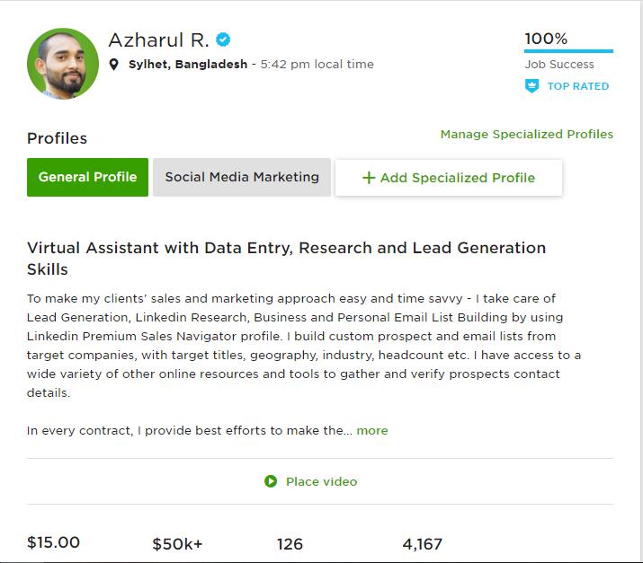 azharul rafy - virtual assistant freelance profile on Upwork